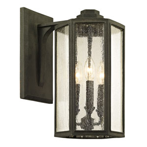 Hancock Vintage Bronze Three-Light Outdoor Wall Sconce with Clear Seeded Glass