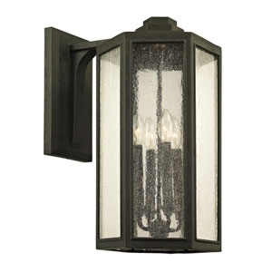 Hancock Vintage Bronze Four-Light Outdoor Wall Sconce with Clear Seeded Glass