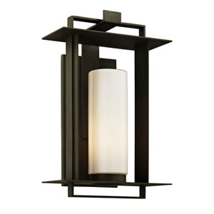 Kendrick Bronze Large One-Light Outdoor Wall Sconce with Opal White Glass