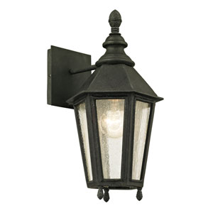 Savannah Vintage Iron One-Light Outdoor Wall Sconce with Clear Seeded Glass