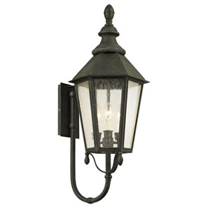 Savannah Vintage Iron Three-Light Outdoor Wall Sconce with Clear Seeded Glass