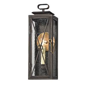 Randolph Vintage Bronze One-Light Outdoor Narrow Wall Sconce with Clear Seeded Glass