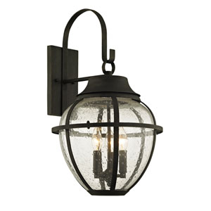Bunker Hill Vintage Bronze Three-Light Outdoor Wall Sconce with Clear Seeded Glass