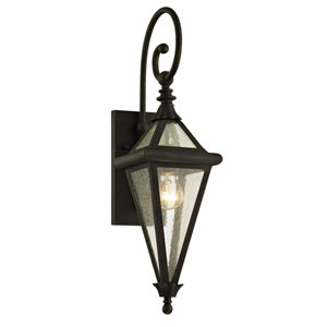 Geneva Vintage Bronze One-Light Outdoor Wall Sconce with Clear Seeded Glass