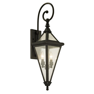 Geneva Vintage Bronze Two-Light Outdoor Wall Sconce with Clear Seeded Glass