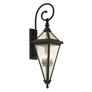 Geneva Vintage Bronze Large Four-Light Outdoor Wall Sconce with Clear Seeded Glass