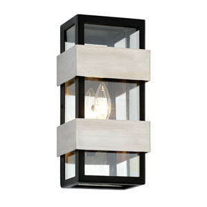 Dana Point Textured Black with Brushed Stainless One-Light Outdoor Wall Sconce with Dark Bronze