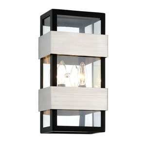 Dana Point Textured Black with Brushed Stainless Two-Light Outdoor Wall Sconce with Dark Bronze