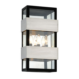 Dana Point Textured Black with Brushed Stainless Three-Light Outdoor Wall Sconce with Dark Bronze