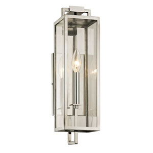 Beckham Polishes Stainless One-Light Outdoor Wall Sconce with Dark Bronze