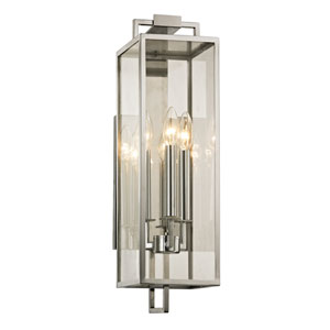 Beckham Polishes Stainless Three-Light Outdoor Wall Sconce with Dark Bronze