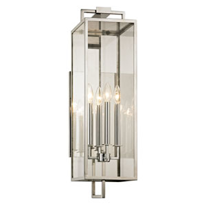 Beckham Polishes Stainless Four-Light Outdoor Wall Sconce with Dark Bronze