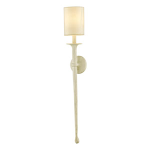 Faulkner Gesso White 37-Inch Wall Sconce with Off-White Fabric