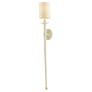 Faulkner Gesso White 48-Inch Wall Sconce with Off-White Fabric