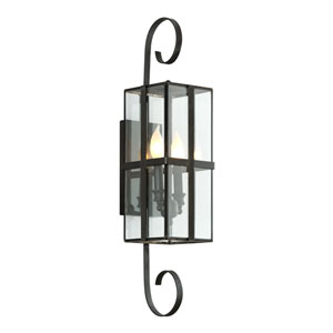 Rutherford Charred Bronze Two-Light Outdoor Wall Sconce with Dark Bronze