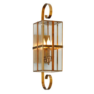Rutherford Heirloom Brass Three-Light Outdoor Wall Sconce with Dark Bronze