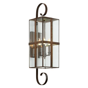 Rutherford Natural Rust Four-Light Outdoor Wall Sconce with Dark Bronze
