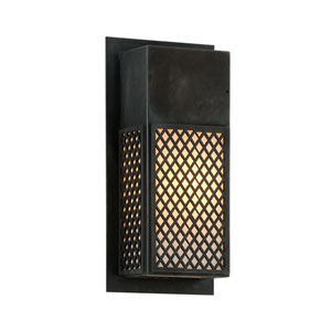 Ibiza Charred Bronze One-Light Outdoor Wall Sconce with Opal White Glass