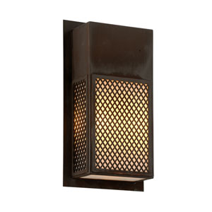 Ibiza Natural Rust Three-Light Outdoor Wall Sconce with Opal White Glass