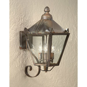 Charred Iron Preston Three-Light Wall Mount Lantern