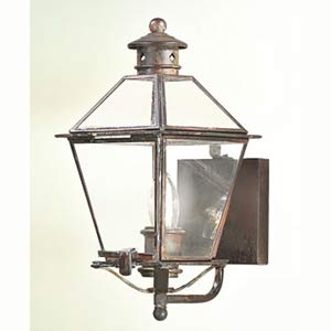 Natural Aged Brass Montgomery Small One-Light Wall Post Mount Glass Top Lantern