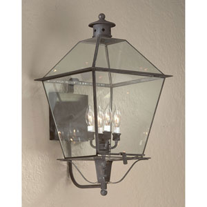 Natural Aged Brass Montgomery X-Large Four-Light Wall Mount Glass Top Lantern