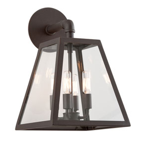 River Valley Rust Four-Light Wall Mount with Clear Seeded Glass