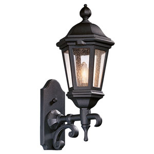 Verona Bronze Patina One-Light Fluorescent Wall Mount Lantern with Clear Seeded Glass