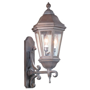 Verona Antique Bronze Two-Light Wall Mount Lantern with Clear Seeded Glass