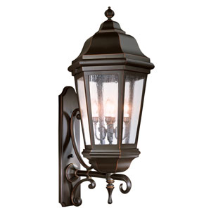 Verona Matte Black Four-Light Wall Mount Lantern with Clear Seeded Glass
