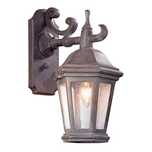Verona Matte Black One-Light Fluorescent Wall Mount Lantern with Clear Seeded Glass