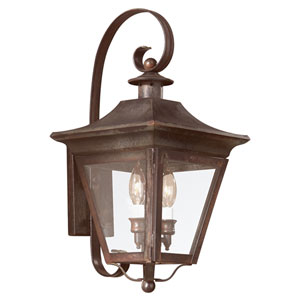 Oxford Natural Rust Two-Light Wall Mount Post Mount Lantern with Clear Seeded Glass