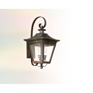 Charred Iron Three-Light Wall Mount Post Mount Lantern with Clear Seeded Glass