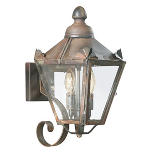 Preston Painted Bronze Leaf Two-Light Wall Mount Lantern with Clear Seeded Glass