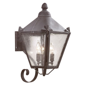 Preston Charred Iron Three-Light Outdoor Wall Mount