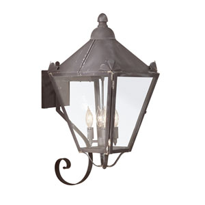 Charred Iron Four-Light Wall Mount Lantern with Clear Seeded Glass