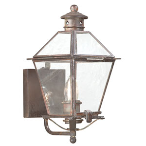 Natural Rust One-Light Glass Top Lantern Wall Mount with Clear Seeded Glass