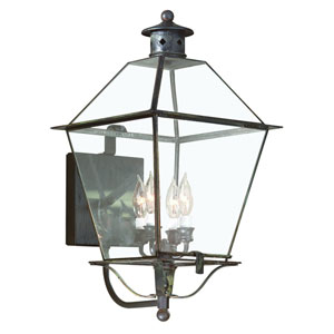 Montgomery Natural Aged Brass Four-Light Wall Mount Glass Top Lantern with Clear Seeded Glass