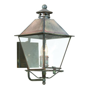 Natural Rust One-Light Wall Mount Metal Top Lantern with Clear Seeded Glass