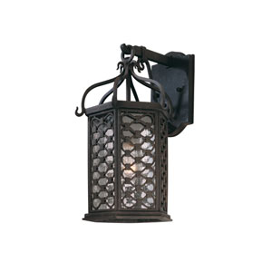 Los Olivos Old Iron One-Light Fluorescent 15-Inch Outdoor Hanging Wall Mount with Amber Mist Glass