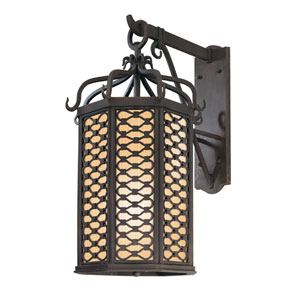 Los Olivos Old Iron One-Light Fluorescent 26-Inch Outdoor Hanging Wall Mount with Amber Mist Glass