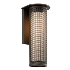 Hive Bronze One-Light Fluorescent Large Wall Sconce with Opal White Glass