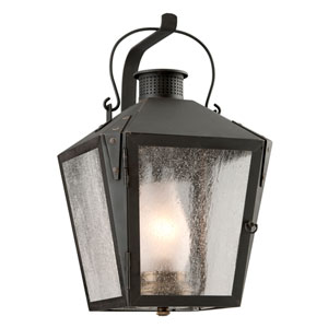 Nantucket Charred Iron One-Light Medium Fluorescent Wall Sconce w/ Frosted Chimney and Clear Seeded Glass