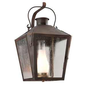 Nantucket Natural Rust One-Light Fluorescent Large Wall Sconce w/ Frosted Chimney and Clear Seeded Glass