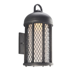 Signal Hill Aged Silver One-Light Eight-Inch Fluorescent Outdoor Wall Sconce