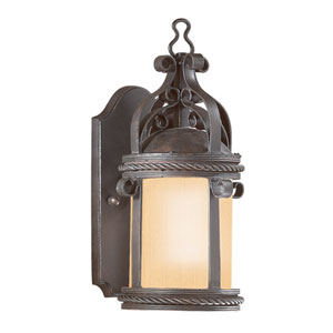 Old Bronze Pamplona Medium One-Light Fluorescent Wall Mount Lantern with Amber Mist Glass