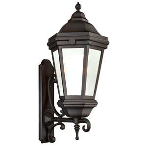 Bronze Patina One-Light Fluorescent Wall Mount Lantern with Clear Seeded Glass