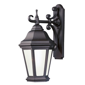 Verona Antique Bronze One-Light Fluorescent Wall Mount Lantern with Clear Seeded Glass