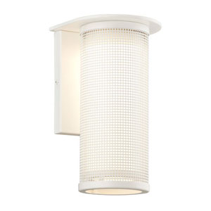 Hive Satin White One-Light Large LED Wall Sconce w/ Coastal Finish and Opal White Glass