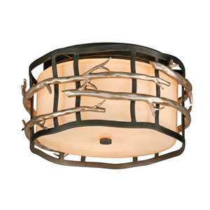 Grahite and Silver Adirondack Two-Light Flush Mount